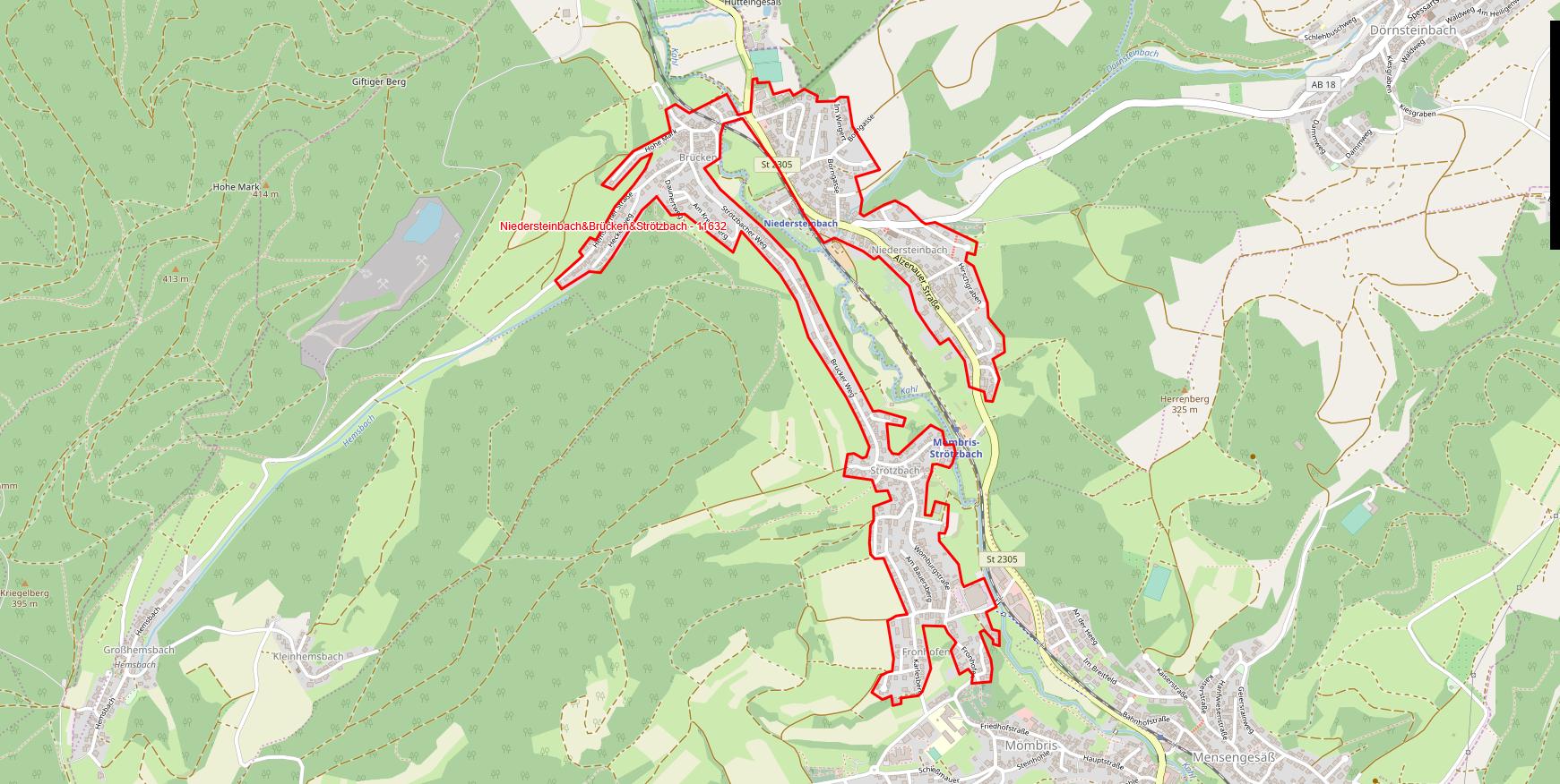 Niedersteinbach / Brücken / Strötzbach - Polygon
